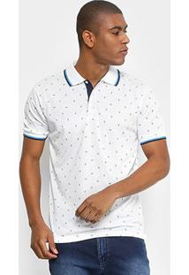Camisa Polo Broken Rules Malha Mini Print Folhagem Masculina - Masculino