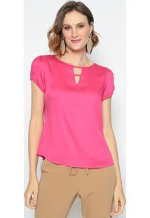 Blusa Com Vazado & Tiras- Pink- Vip Reservavip Reserva