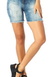 Bermuda Jeans Denim Zero Slim Com Marcação - Feminino-Jeans