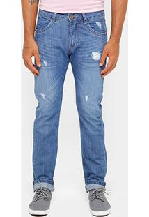 Calça Jeans Reta Razon Lavada Puídos Masculino - Masculino