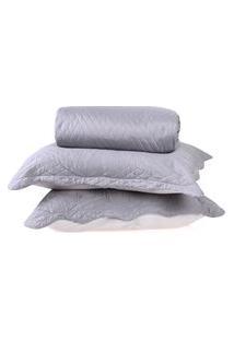 Kit Cobre Leito Ultra Lisse Queen + Porta Travesseiros Cinza Matte - Bene Casa