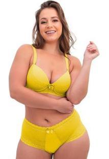Conjunto De Calcinha E Sutiã Sigh Plus Size Renda Feminino - Feminino-Amarelo