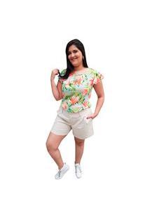 Blusa Crepe Linda D+ Floral Verde (5026)