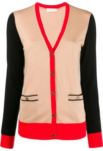 Tory Burch Cardigan Madeline Color Block - Marrom
