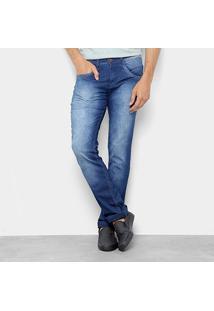 Calça Jeans Slim Biotipo Estonada Básica Masculina - Masculino-Azul Escuro