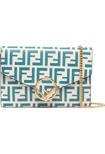 Fendi Logo-Print Crossbody Bag - Azul