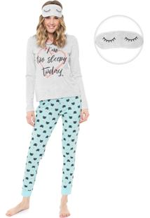 Pijama Malwee Liberta Sleepy Today Cinza/Azul