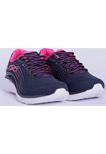 Tênis Esportivo Feminino Olympikus Dash Azul Marinho/Rosa Pink