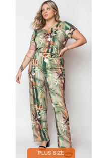 Macacão Feminino Plus Size Estampado Verde