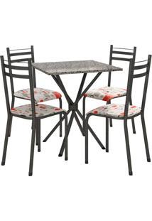Conjunto De Mesa 70Cm 4 Cadeiras Lyon Preto Fabone Móveis Tubulares