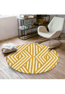Tapete Redondo Wevans Geométrico Amarelo