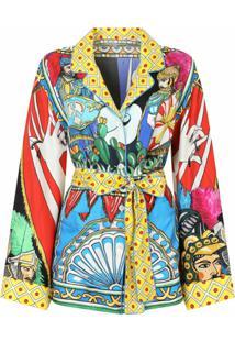 Dolce & Gabbana Jaqueta Com Cinto E Estampa Gráfica - Vermelho