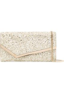 Jimmy Choo Emmie Glitter-Embellished Clutch Bag - Dourado