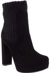 Ankle Boots Bebecê Salto Grosso Sock Preto Preto