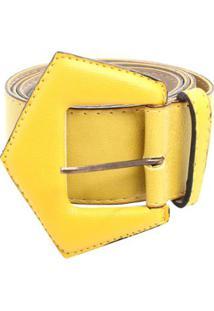 Cinto Birô Fivela Triângulo Feminino - Feminino-Amarelo