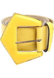 Cinto Fivela Triângulo Feminino - Feminino-Amarelo