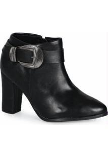 Ankle Boots Feminino Fivela Preto Preto