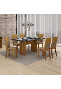 Conjunto De Mesa De Jantar Florença Com 6 Cadeiras Havai Veludo Imbuia Mel Preto
