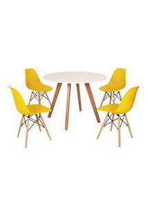 Mesa Inês 100Cm Branca + 4 Cadeiras Eames Eiffel - Amarela