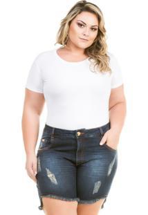 Shorts Confidencial Extra Plus Size Jeans Com Barra Assimétrica Feminino - Feminino