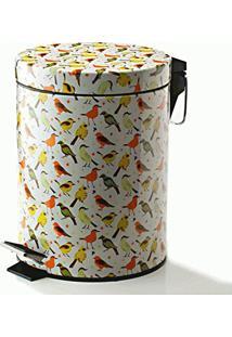 Lixeira Tropical Birds Com Pedal Em Metal - 5 Litros - 28,5X22,5 Cm