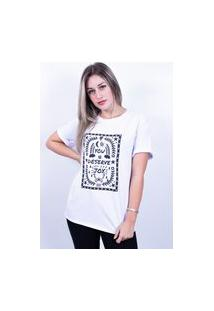 Camiseta Bilhan Corte A Fio You Deserve Joy Pqn Branca
