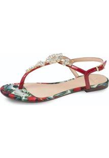 Rasteira Flat La Femme Flor Tropical Feminina - Feminino-Vermelho
