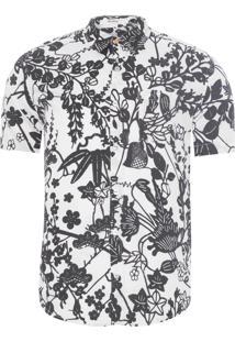 Camisa Masculina Trama Floral - Off White