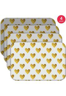 Jogo Americano Love Decor Wevans Corações Yellow Kit Com 4 Pçs