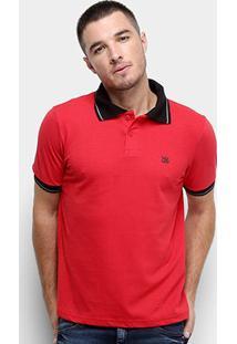 Camisa Polo Derek Ho Friso Logo Dkho Masculina - Masculino-Vermelho+Preto