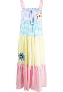 Mira Mikati Vestido Color Block Xadrez Com Amarração - Amarelo