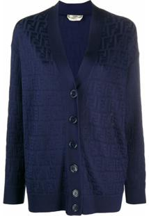Fendi Cardigan Com Estampa Ff - Azul