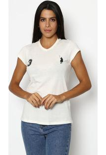 "Camiseta ""3"" Com Recortes- Off White & Preta- Club Pclub Polo Collection"