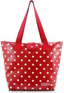 Bolsa Shopper Jacki Design Flanelado - Feminino-Vermelho