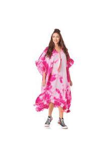 Vestido Kaftan Yacamim Midi Rosa