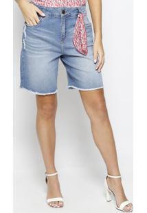 Bermuda Jeans Estonada Com Lenço- Azul- Maria Valentmorena Rosa