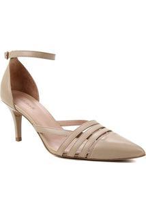 Scarpin Couro Shoestock Bico Fino Tiras E Pulseira - Feminino-Cáqui