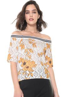 Blusa Tricot Lança Perfume Floral Branca/Amarela