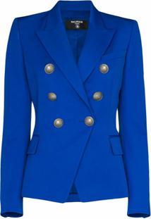 Balmain Blazer Com Abotoamento Duplo - Azul
