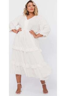 Vestido Almaria Plus Size Pianeta Midi Viscose Bra