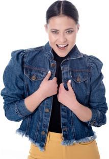 Jaqueta Sisal Jeans Manga Bufante Sem Cós Jeans Escuro