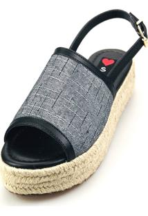 Avarca Espadrille Love Shoes Anabela Plataforma Corda Fechada Preta