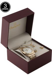 Kit 3 Pçs Relógio Champion Cn26780A Dourado