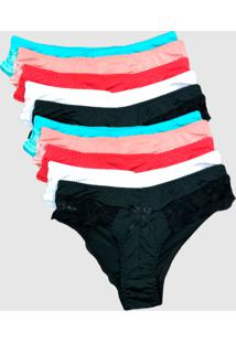Kit 10 Calcinhas Tanga Em Microfibra Lisa Adulto Multicolorido - Multicolorido - Feminino - Dafiti