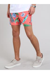 Short Masculino Estampado De Folhagens Com Bolso Coral