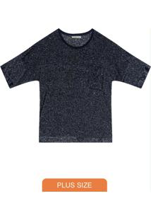Blusa Plus Size De Molecotton Azul
