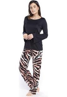 Pijama Inspirate De Inverno Animal Print Safari Feminino - Feminino-Preto