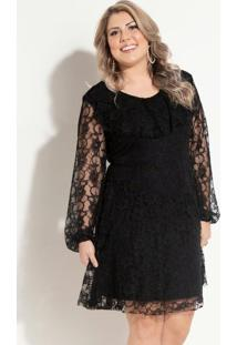 Vestido De Renda Preto Quintess Plus Size