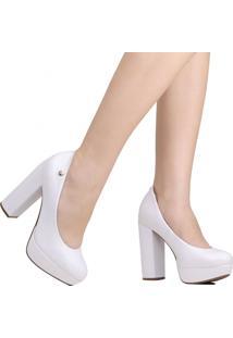 Sapato Scarpin Vizzano Noivas Salto Grosso Branco