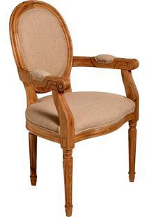 Cadeira Urbino De Madeira Carvalho Americano Com Braço Assento E Encosto De Linho